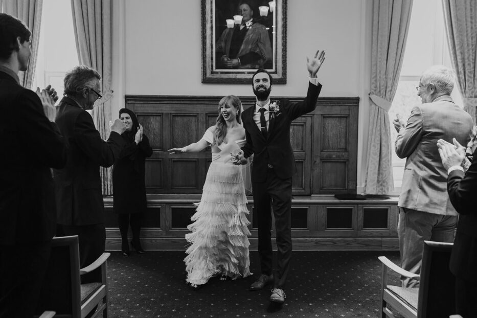 Couple getting married at the Manchester Whitworth Museum wedding